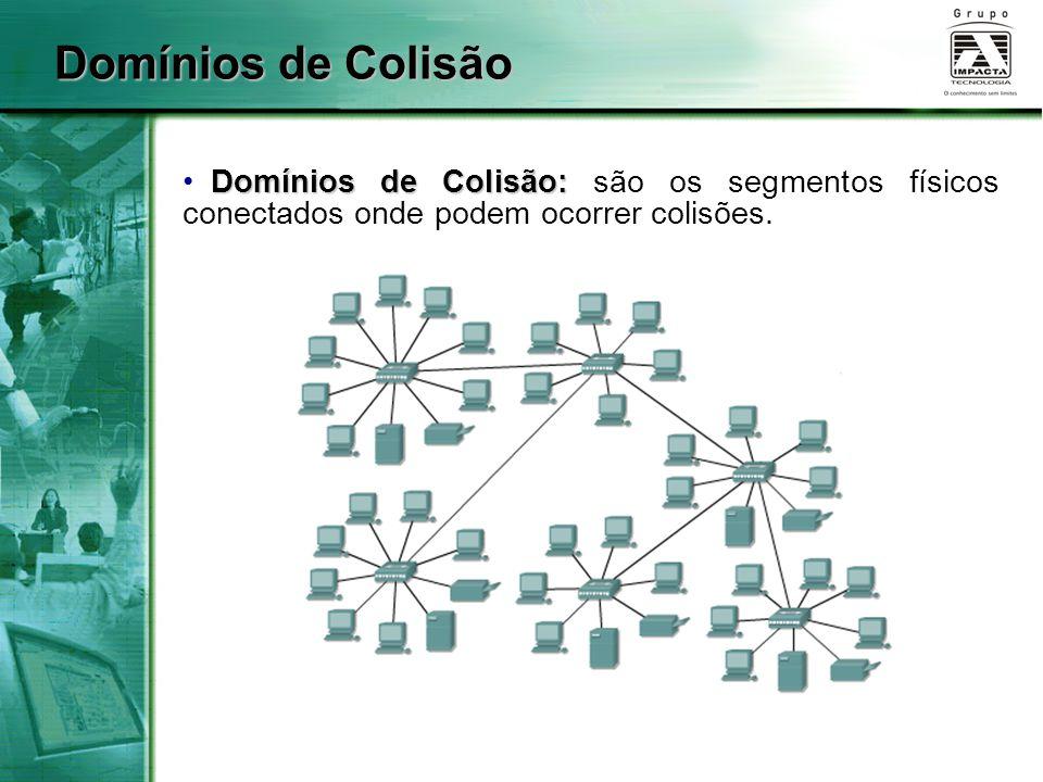 Domínios de Colisão Domínios de Colisão: Domínios de Colisão: são os segmentos físicos conectados onde podem ocorrer colisões.