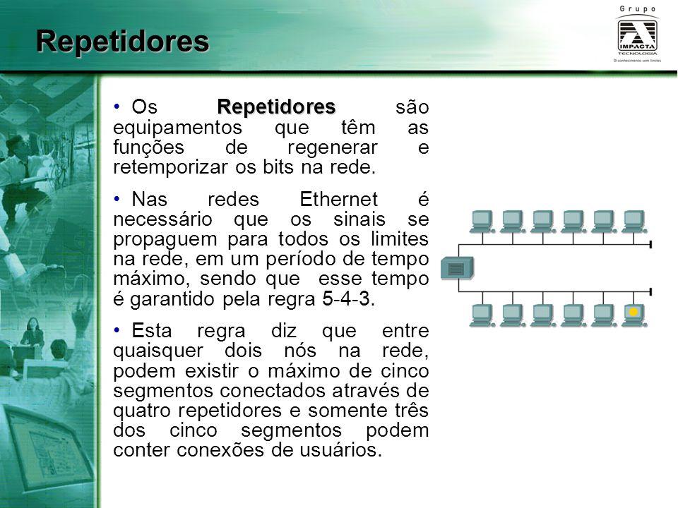 Repetidores Repetidores Os Repetidores são equipamentos que têm as funções de regenerar e retemporizar os bits na rede. Nas redes Ethernet é necessári
