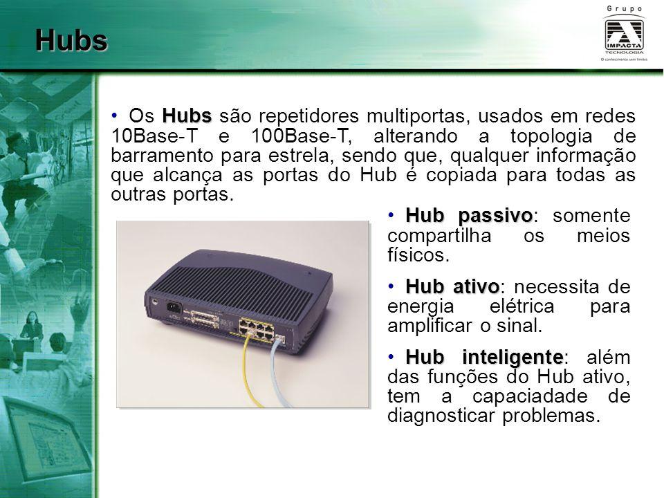 Hubs Hubs Os Hubs são repetidores multiportas, usados em redes 10Base-T e 100Base-T, alterando a topologia de barramento para estrela, sendo que, qual