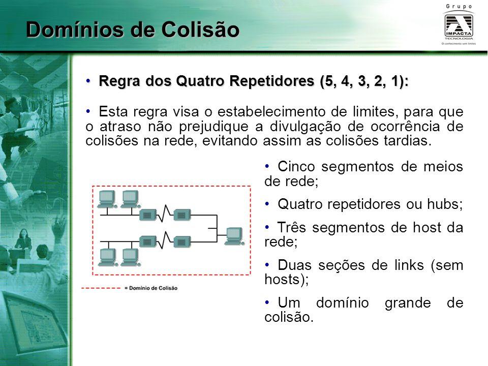 Domínios de Colisão Regra dos Quatro Repetidores (5, 4, 3, 2, 1): Regra dos Quatro Repetidores (5, 4, 3, 2, 1): Esta regra visa o estabelecimento de l