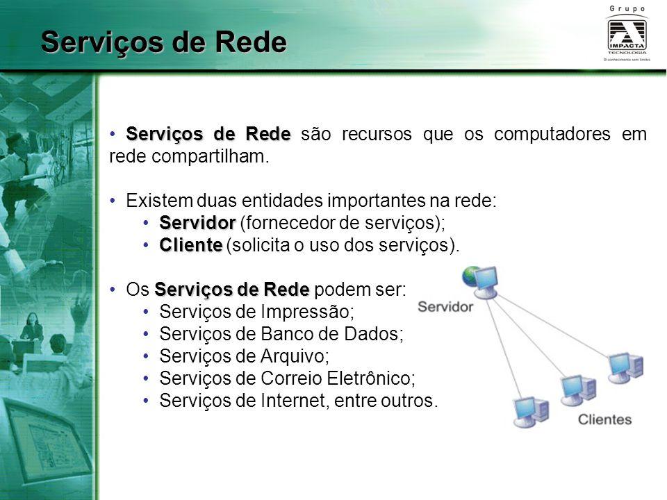 Serviços de Rede Serviços de Rede Serviços de Rede são recursos que os computadores em rede compartilham. Existem duas entidades importantes na rede: