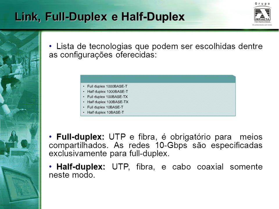 Link, Full-Duplex e Half-Duplex Lista de tecnologias que podem ser escolhidas dentre as configurações oferecidas: Full-duplex: Full-duplex: UTP e fibr