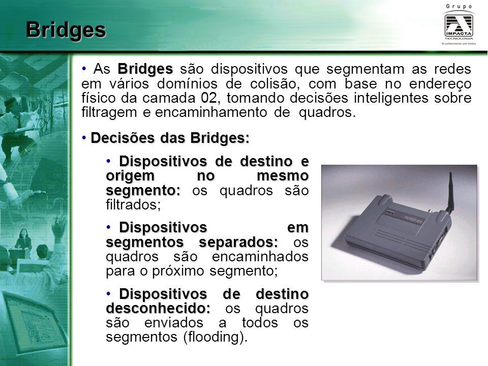 Bridges Bridges As Bridges são dispositivos que segmentam as redes em vários domínios de colisão, com base no endereço físico da camada 02, tomando de
