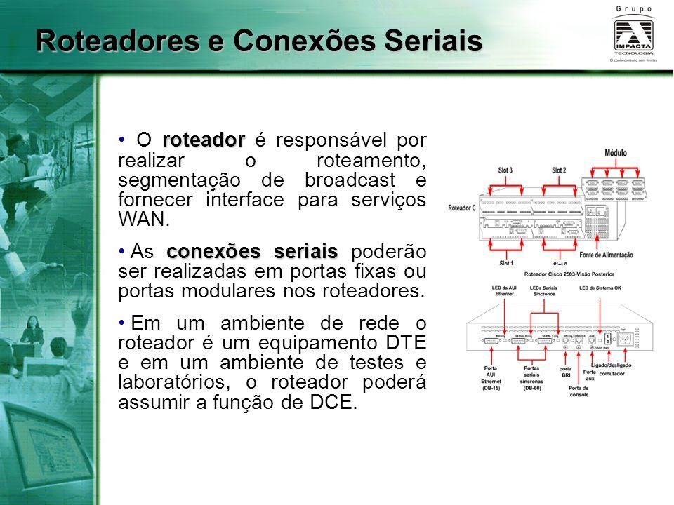 Roteadores e Conexões Seriais roteador O roteador é responsável por realizar o roteamento, segmentação de broadcast e fornecer interface para serviços