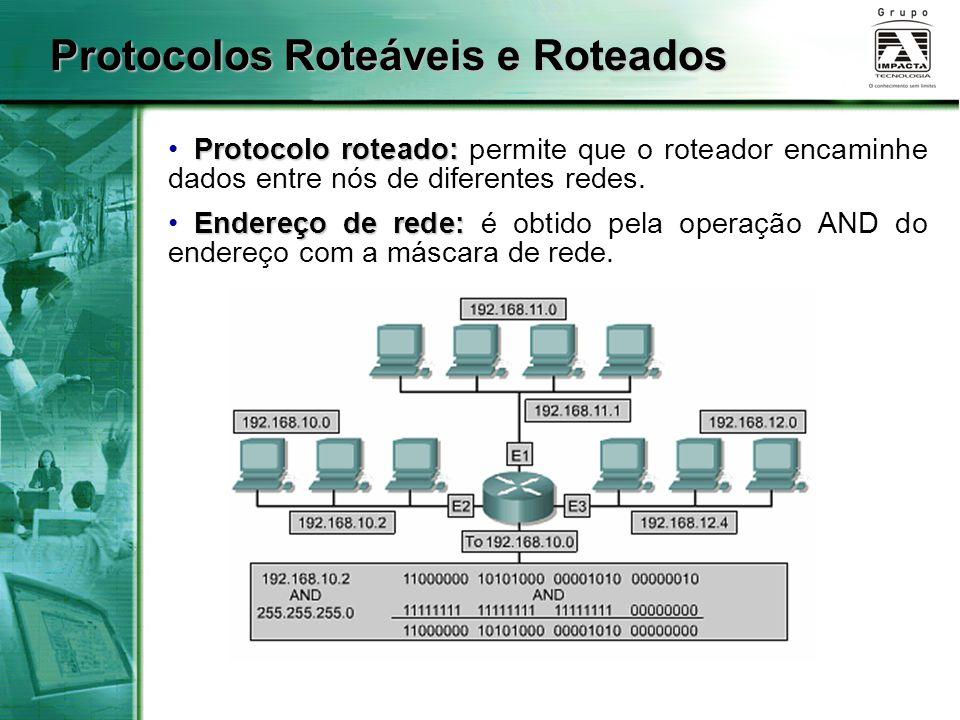 Protocolos Roteáveis e Roteados Protocolo roteado: Protocolo roteado: permite que o roteador encaminhe dados entre nós de diferentes redes. Endereço d