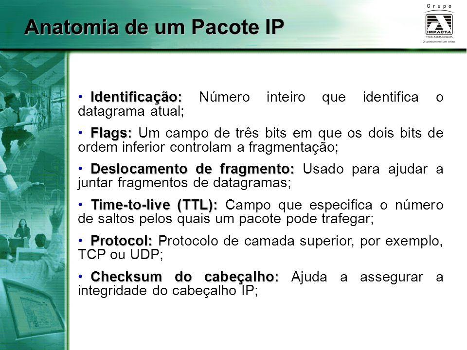 Anatomia de um Pacote IP Identificação: Identificação: Número inteiro que identifica o datagrama atual; Flags: Flags: Um campo de três bits em que os
