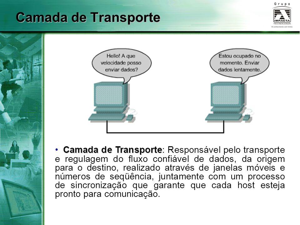 Camada de Transporte Camada de Transporte Camada de Transporte: Responsável pelo transporte e regulagem do fluxo confiável de dados, da origem para o