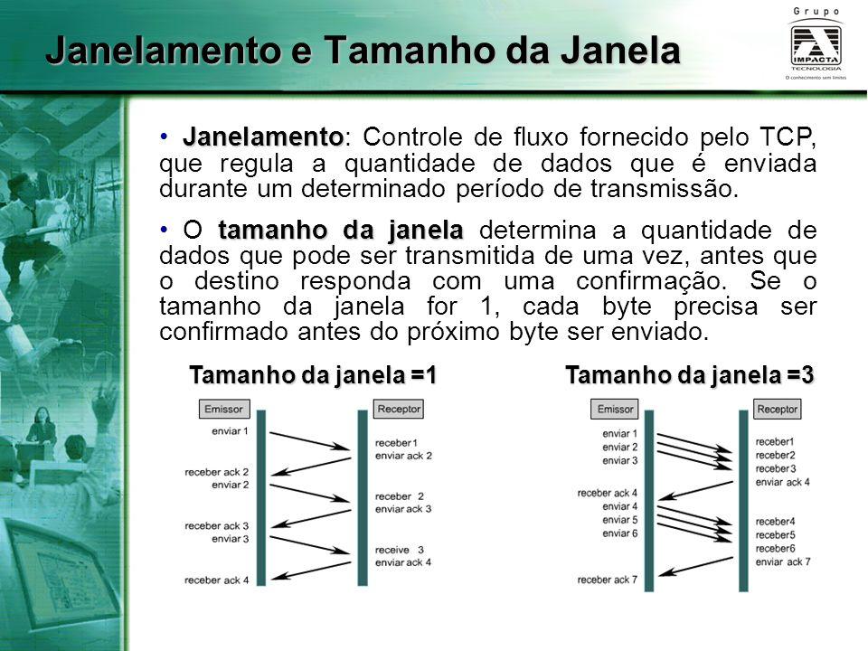 Janelamento e Tamanho da Janela Tamanho da janela =1 Tamanho da janela =3 Janelamento Janelamento: Controle de fluxo fornecido pelo TCP, que regula a
