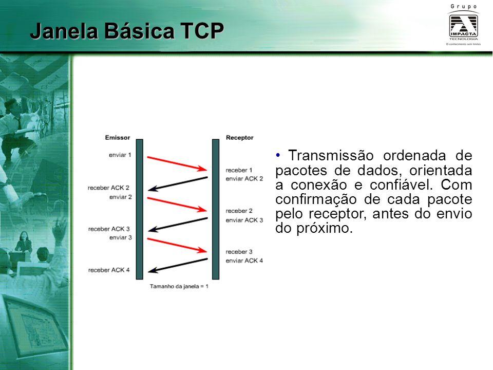 Janela Básica TCP Transmissão ordenada de pacotes de dados, orientada a conexão e confiável. Com confirmação de cada pacote pelo receptor, antes do en