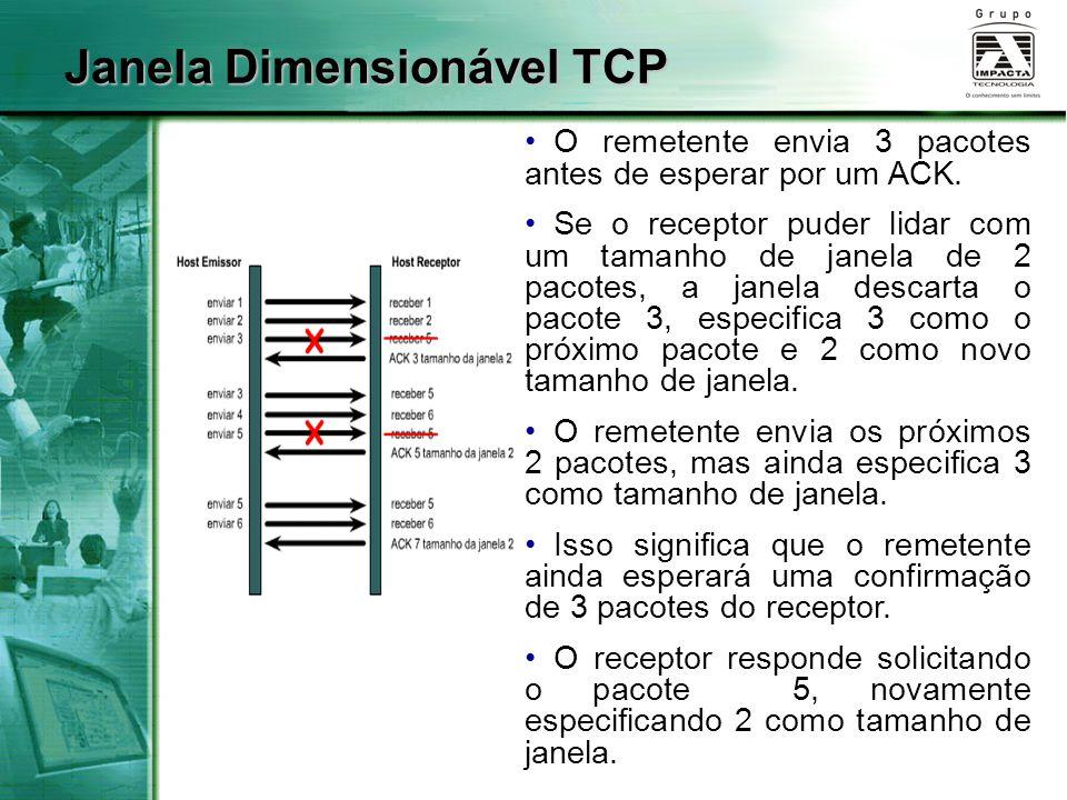 Janela Dimensionável TCP O remetente envia 3 pacotes antes de esperar por um ACK. Se o receptor puder lidar com um tamanho de janela de 2 pacotes, a j