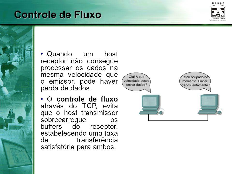 Controle de Fluxo Quando um host receptor não consegue processar os dados na mesma velocidade que o emissor, pode haver perda de dados. controle de fl
