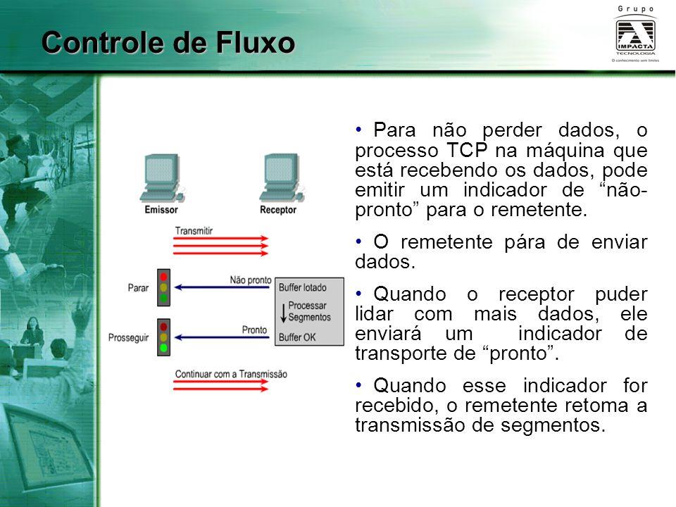 """Controle de Fluxo Para não perder dados, o processo TCP na máquina que está recebendo os dados, pode emitir um indicador de """"não- pronto"""" para o remet"""