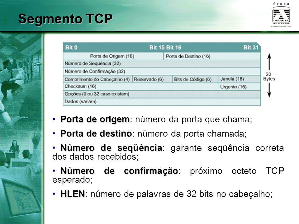Segmento TCP Porta de origem Porta de origem: número da porta que chama; Porta de destino Porta de destino: número da porta chamada; Número de seqüênc