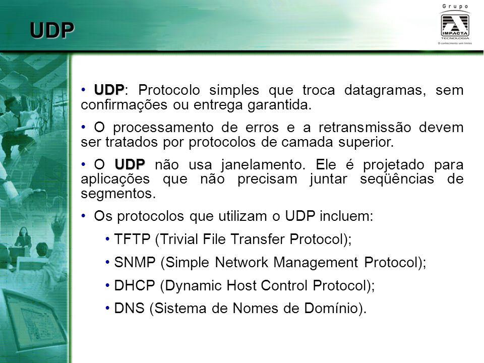 UDP UDP UDP: Protocolo simples que troca datagramas, sem confirmações ou entrega garantida. O processamento de erros e a retransmissão devem ser trata