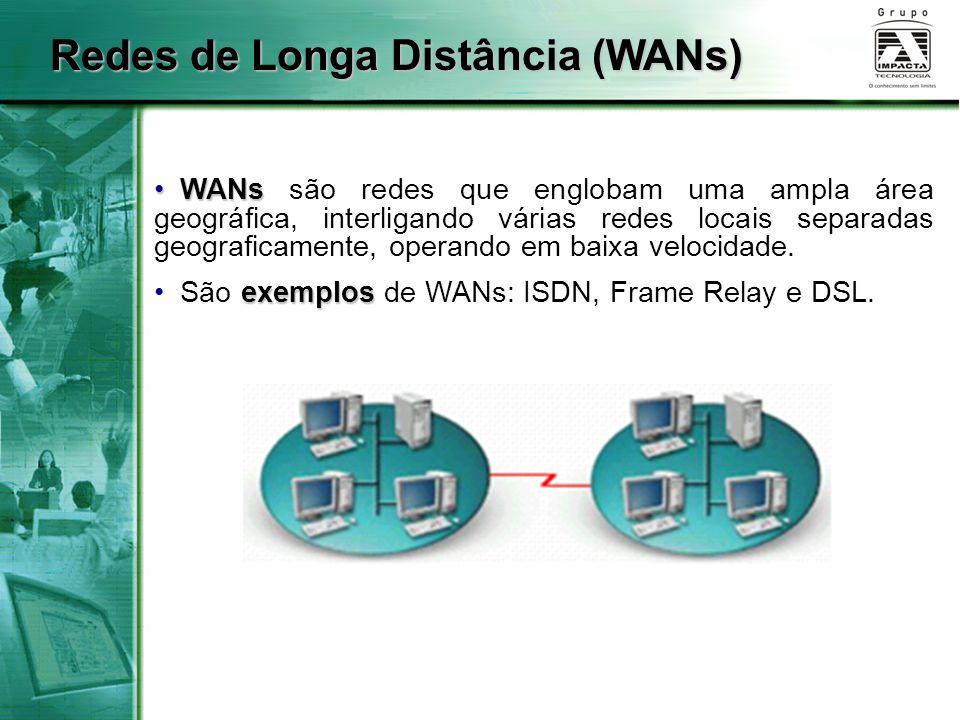 WANs WANs são redes que englobam uma ampla área geográfica, interligando várias redes locais separadas geograficamente, operando em baixa velocidade.