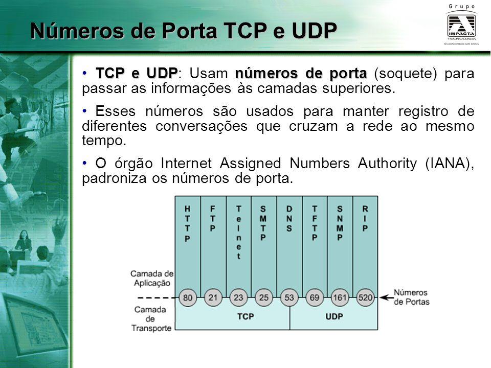 Números de Porta TCP e UDP TCP e UDPnúmeros de porta TCP e UDP: Usam números de porta (soquete) para passar as informações às camadas superiores. Esse