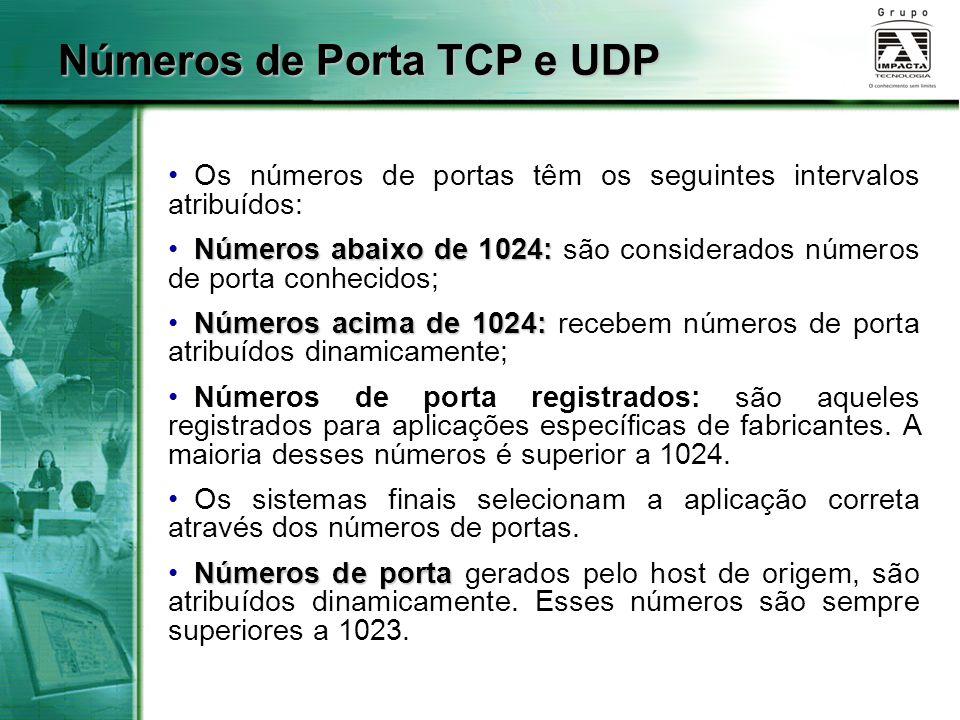 Números de Porta TCP e UDP Os números de portas têm os seguintes intervalos atribuídos: Números abaixo de 1024: Números abaixo de 1024: são considerad