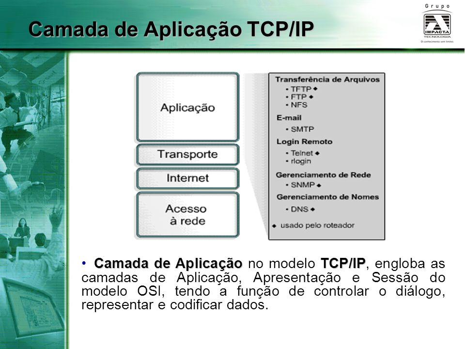 Camada de Aplicação TCP/IP Camada de AplicaçãoTCP/IP Camada de Aplicação no modelo TCP/IP, engloba as camadas de Aplicação, Apresentação e Sessão do m