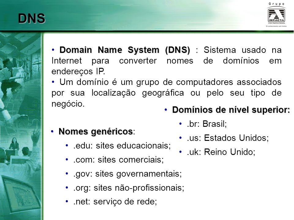 DNS Domain Name System (DNS) Domain Name System (DNS) : Sistema usado na Internet para converter nomes de domínios em endereços IP. Um domínio é um gr
