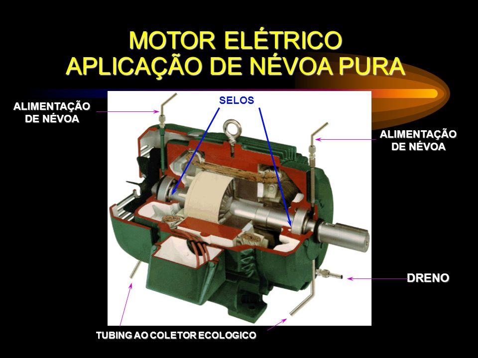 MOTOR ELÉTRICO APLICAÇÃO DE NÉVOA PURA ALIMENTAÇÃO DE NÉVOA ALIMENTAÇÃO DRENO SELOS TUBING AO COLETOR ECOLOGICO