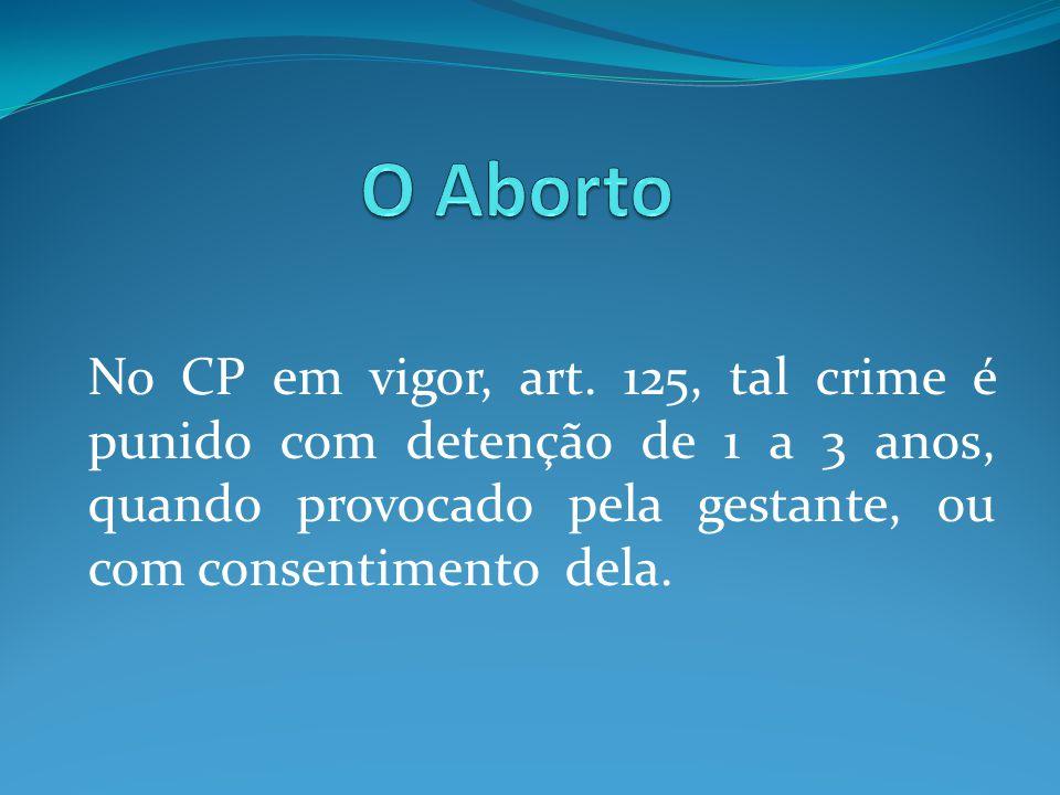 No CP em vigor, art. 125, tal crime é punido com detenção de 1 a 3 anos, quando provocado pela gestante, ou com consentimento dela.