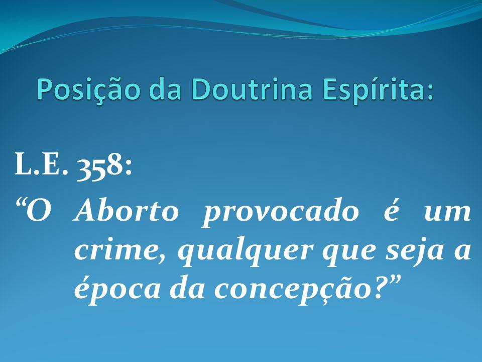 """L.E. 358: """"O Aborto provocado é um crime, qualquer que seja a época da concepção?"""""""