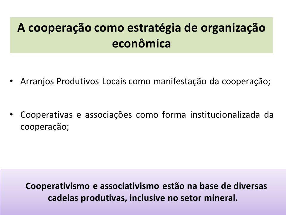 A importância do cooperativismo e associativismo nos APLs de base mineral Formalização/legalização e Organização da atividade econômica; Gestão social e gestão empresarial; Gestão sustentável dos recursos naturais (aqui o cooperativismo mineral assumi uma diferenciação importante, voltado à intervenção nos passivos ambientais); Governança dos APLs; A questão socioambiental como articuladora da atividade econômica