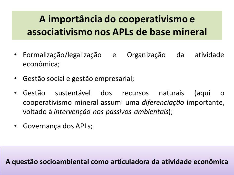 A importância do cooperativismo e associativismo nos APLs de base mineral Formalização/legalização e Organização da atividade econômica; Gestão social