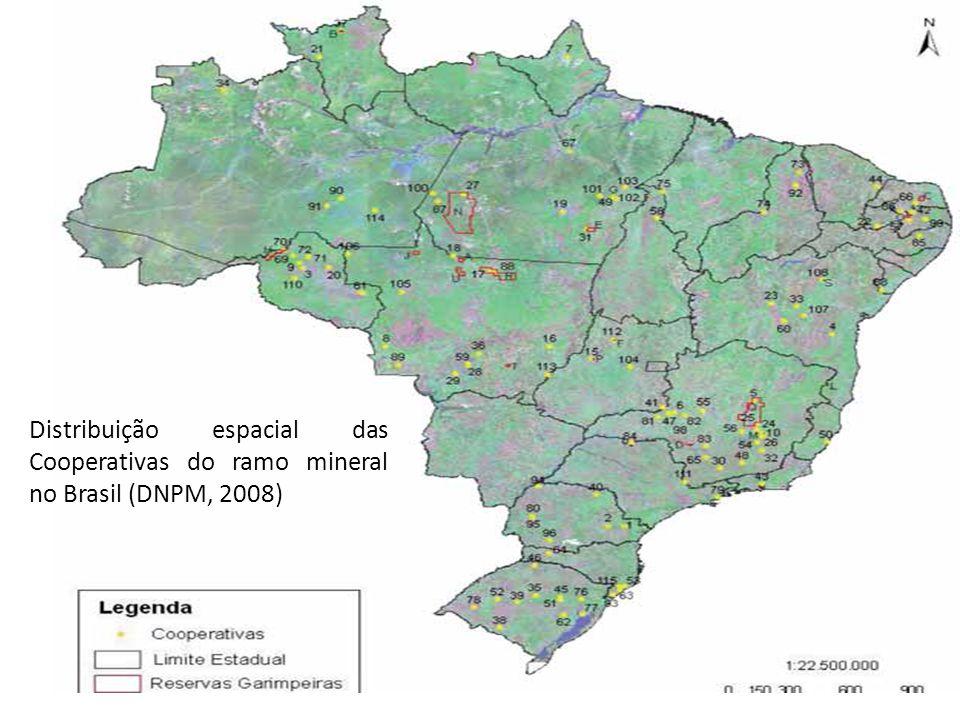 Distribuição espacial das Cooperativas do ramo mineral no Brasil (DNPM, 2008)