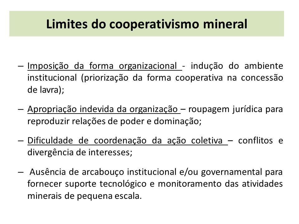 Limites do cooperativismo mineral – Imposição da forma organizacional - indução do ambiente institucional (priorização da forma cooperativa na concess