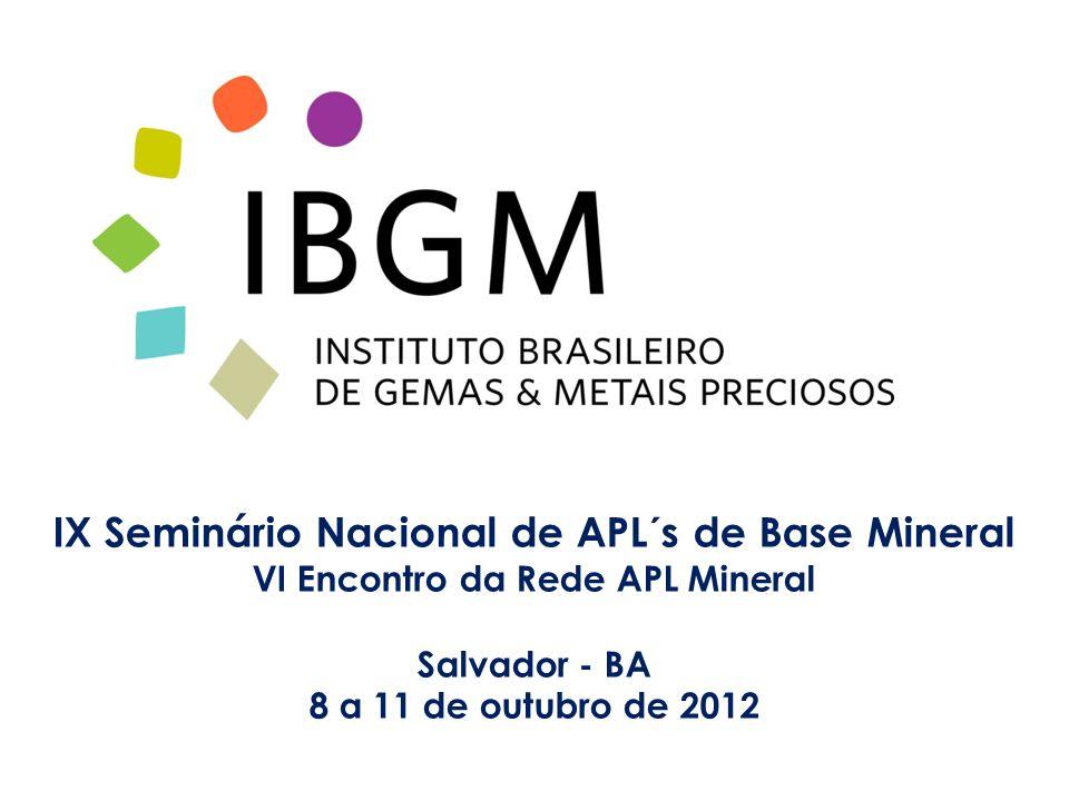 IX Seminário Nacional de APL´s de Base Mineral VI Encontro da Rede APL Mineral Salvador - BA 8 a 11 de outubro de 2012