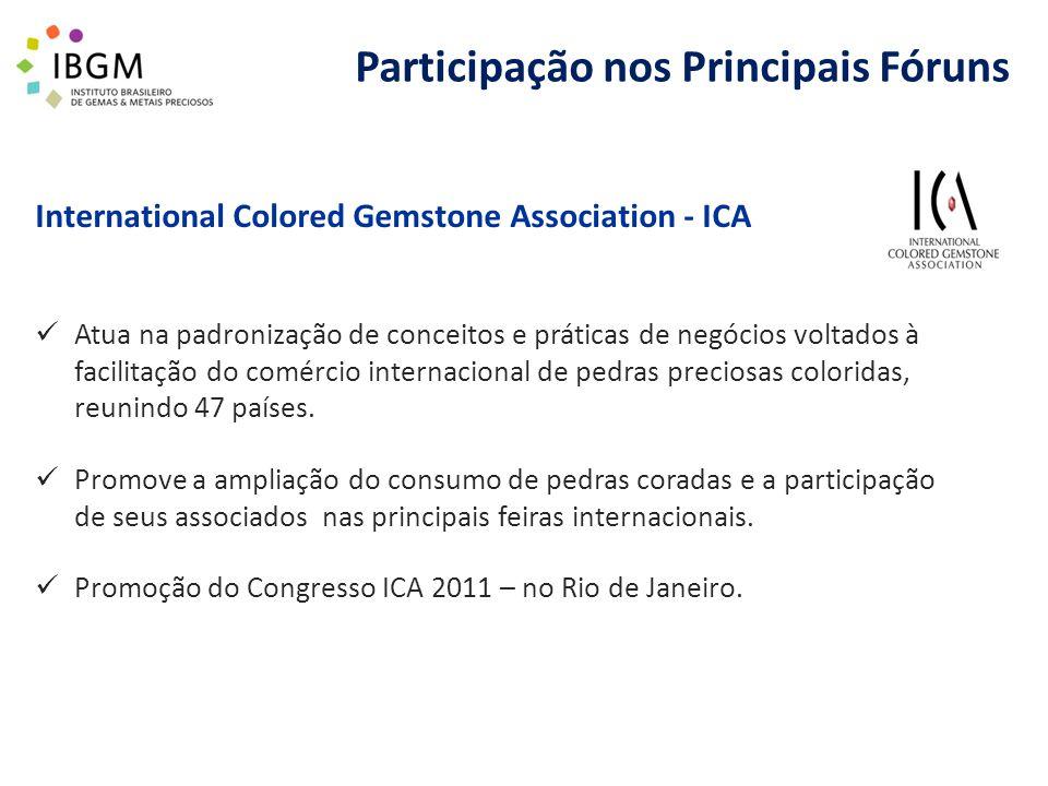 Participação nos Principais Fóruns International Colored Gemstone Association - ICA Atua na padronização de conceitos e práticas de negócios voltados à facilitação do comércio internacional de pedras preciosas coloridas, reunindo 47 países.