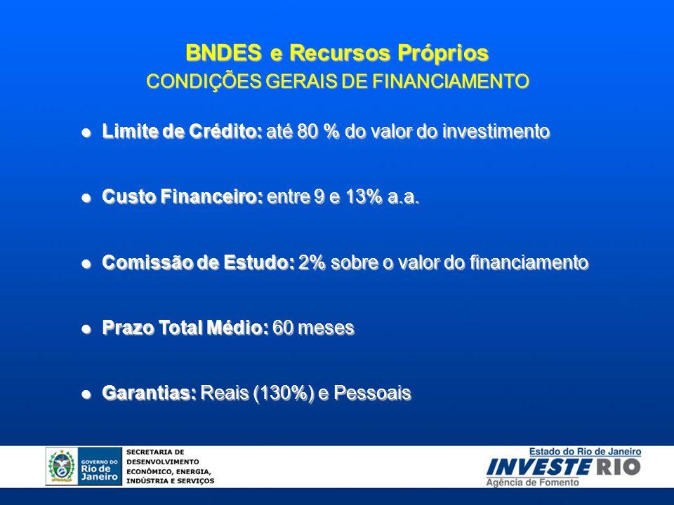 BNDES e Recursos Próprios CONDIÇÕES GERAIS DE FINANCIAMENTO Limite de Crédito: até 80 % do valor do investimento Limite de Crédito: até 80 % do valor