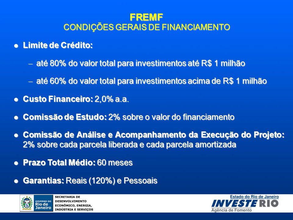 FREMF CONDIÇÕES GERAIS DE FINANCIAMENTO Limite de Crédito: Limite de Crédito: – até 80% do valor total para investimentos até R$ 1 milhão – até 60% do