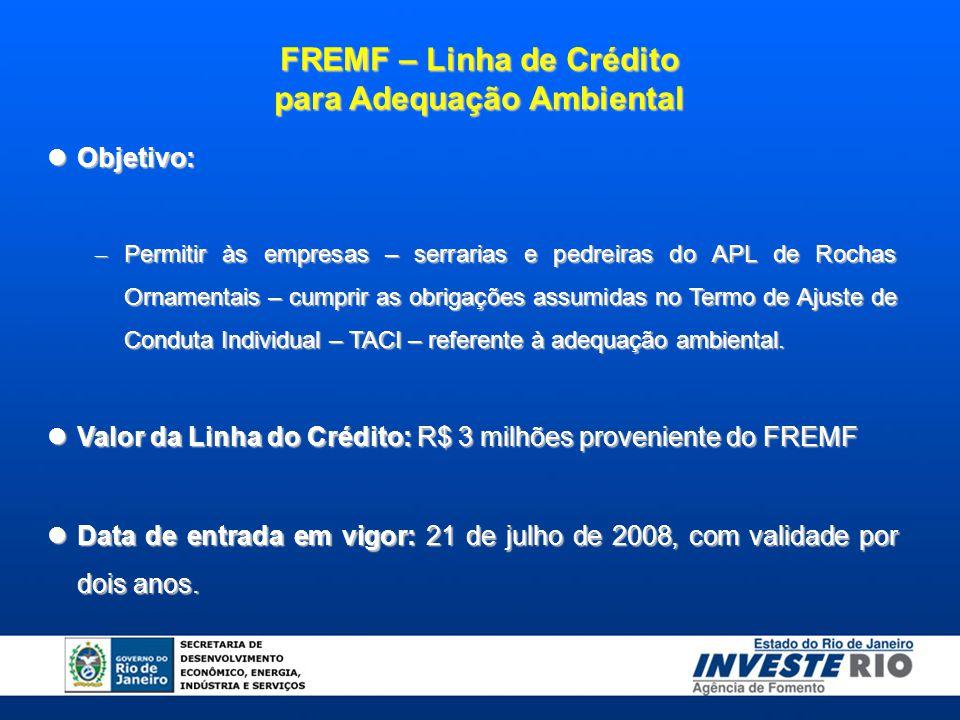 FREMF – Linha de Crédito para Adequação Ambiental Objetivo: Objetivo: – Permitir às empresas – serrarias e pedreiras do APL de Rochas Ornamentais – cu