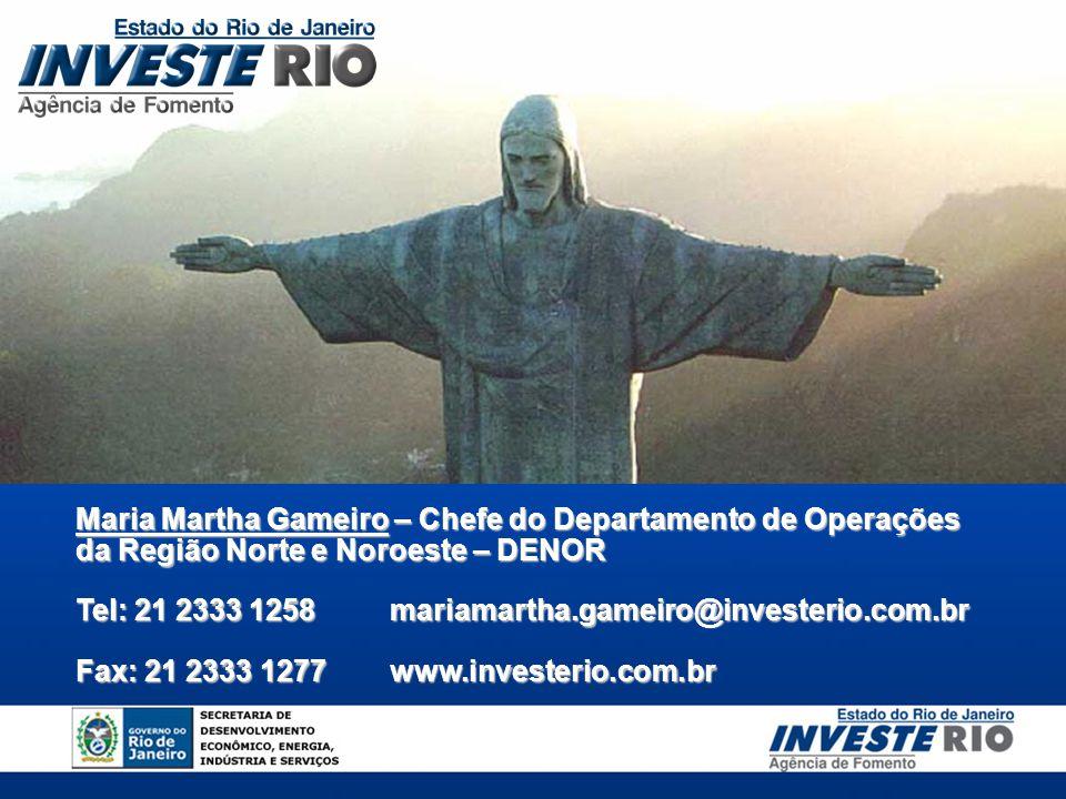 Maria Martha Gameiro – Chefe do Departamento de Operações da Região Norte e Noroeste – DENOR Tel: 21 2333 1258mariamartha.gameiro@investerio.com.br Fa