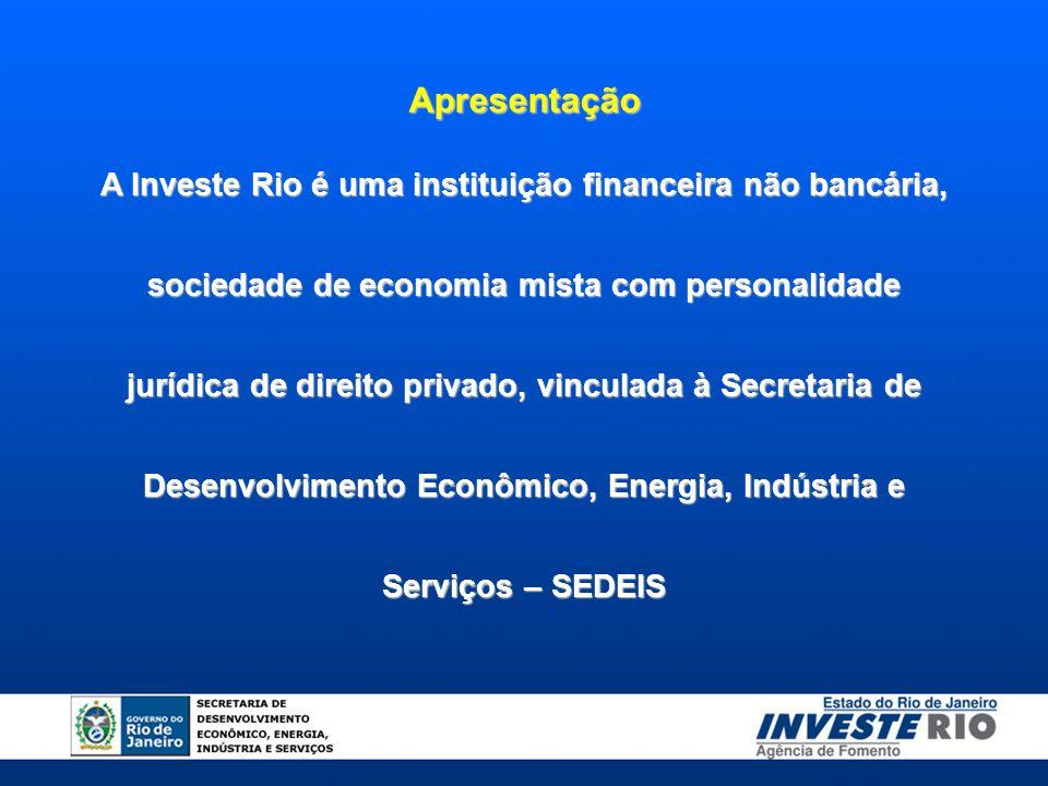 Apresentação A Investe Rio é uma instituição financeira não bancária, sociedade de economia mista com personalidade jurídica de direito privado, vincu