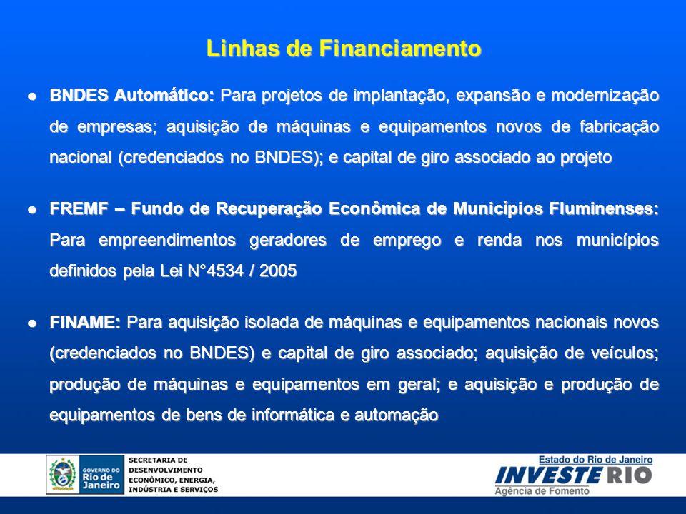 BNDES Automático: Para projetos de implantação, expansão e modernização de empresas; aquisição de máquinas e equipamentos novos de fabricação nacional