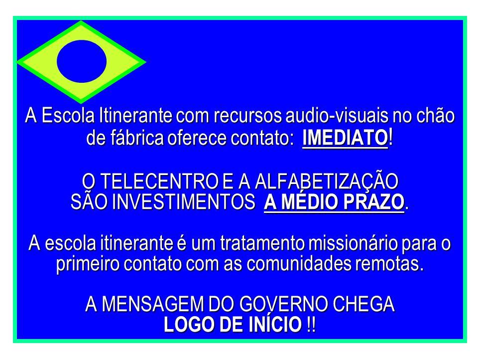 A Escola Itinerante com recursos audio-visuais no chão de fábrica oferece contato: IMEDIATO ! O TELECENTRO E A ALFABETIZAÇÃO SÃO INVESTIMENTOS A MÉDIO