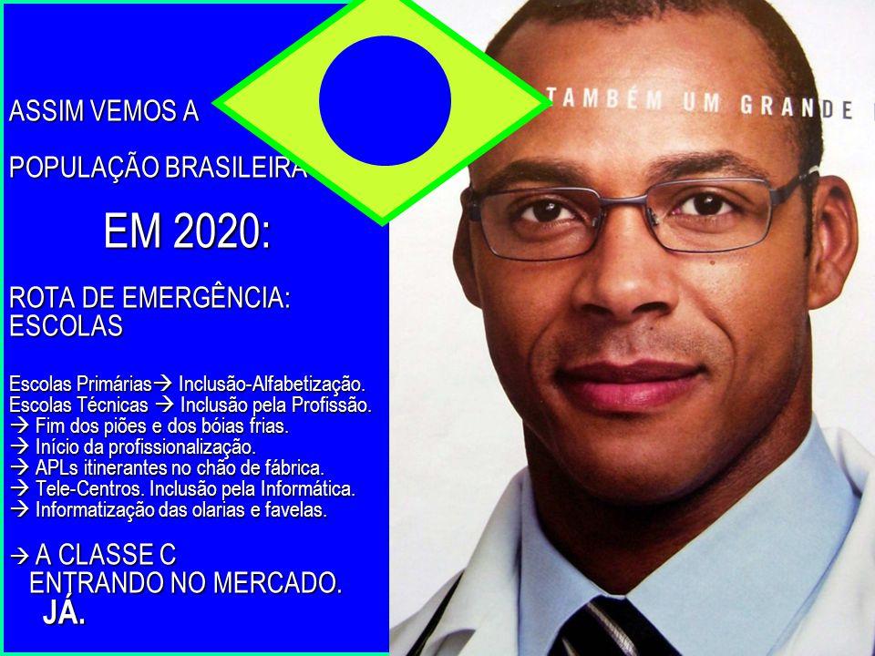 ASSIM VEMOS A POPULAÇÃO BRASILEIRA EM 2020: ROTA DE EMERGÊNCIA: ESCOLAS Escolas Primárias  Inclusão-Alfabetização. Escolas Técnicas  Inclusão pela P