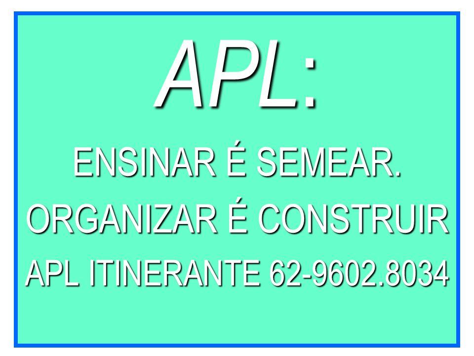 APL : ENSINAR É SEMEAR. ORGANIZAR É CONSTRUIR APL ITINERANTE 62-9602.8034