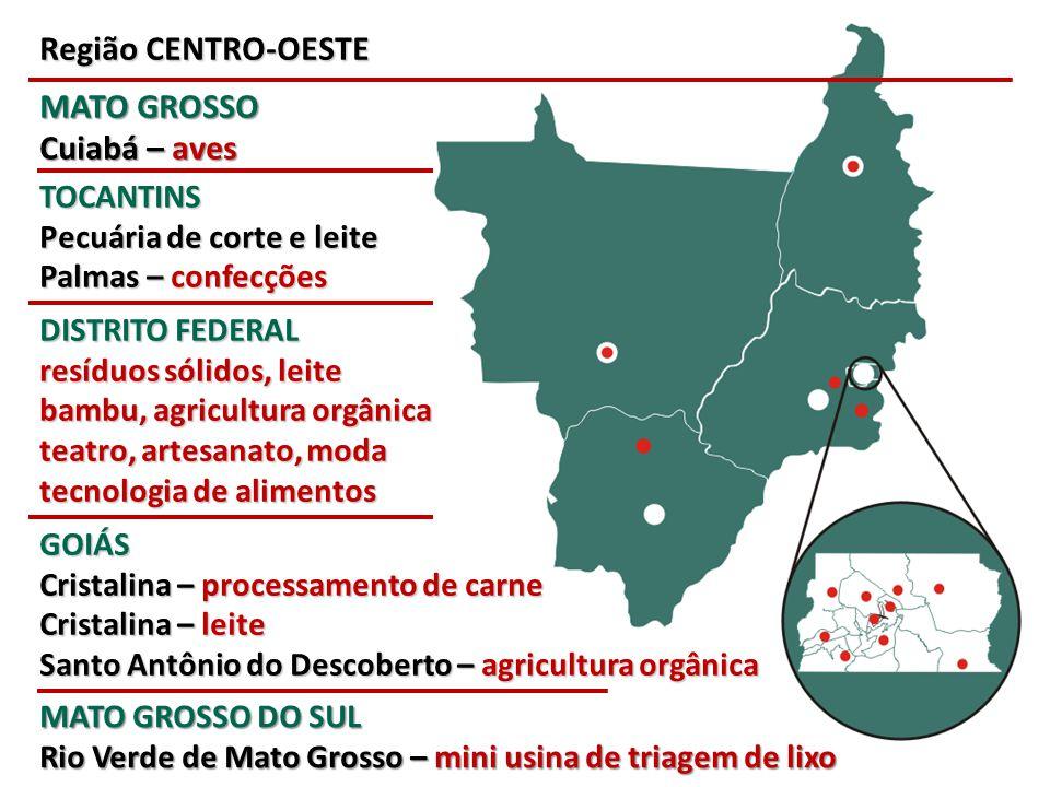 Região CENTRO-OESTE MATO GROSSO Cuiabá – aves DISTRITO FEDERAL resíduos sólidos, leite bambu, agricultura orgânica teatro, artesanato, moda tecnologia