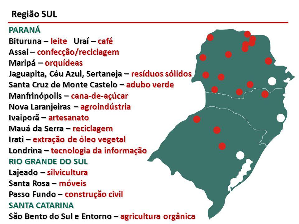 Região SUL PARANÁ Bituruna – leite Uraí – café Assai – confecção/reciclagem Maripá – orquídeas Jaguapita, Céu Azul, Sertaneja – resíduos sólidos Santa