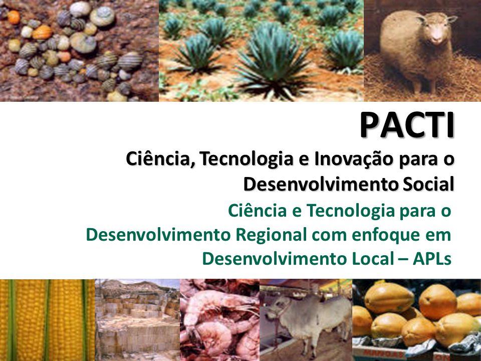 PACTI Ciência, Tecnologia e Inovação para o Desenvolvimento Social Ciência e Tecnologia para o Desenvolvimento Regional com enfoque em Desenvolvimento