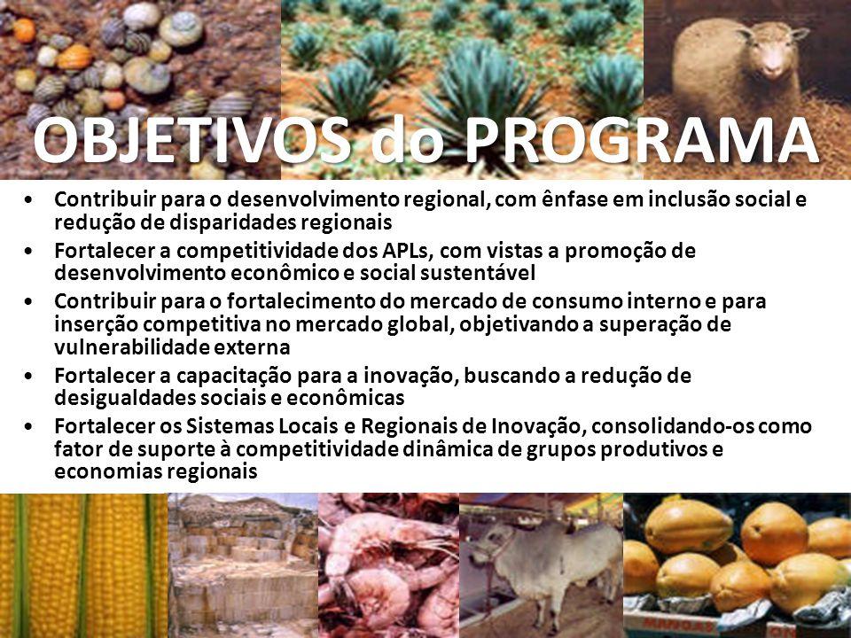 Contribuir para o desenvolvimento regional, com ênfase em inclusão social e redução de disparidades regionais Fortalecer a competitividade dos APLs, c