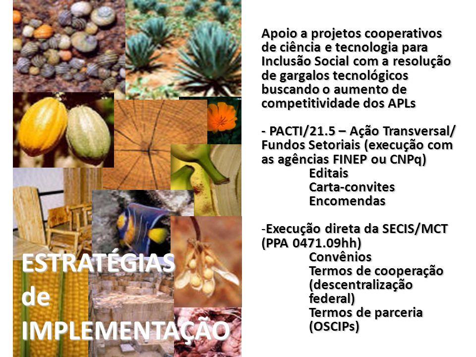 Exemplos de APLs apoiados por projetos de C&T para Inclusão Social, de 2003 a 2010, localizados por natureza do projeto e município contemplado