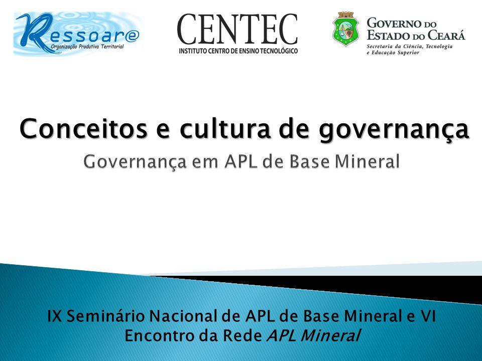 Conceitos e cultura de governança IX Seminário Nacional de APL de Base Mineral e VI Encontro da Rede APL Mineral