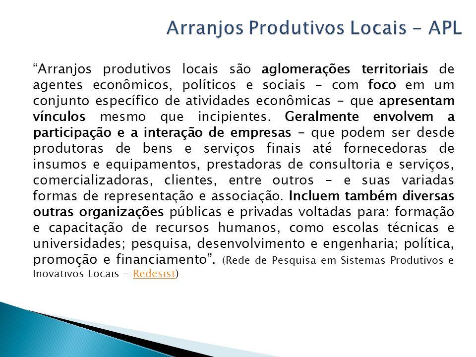 Arranjos produtivos locais são aglomerações territoriais de agentes econômicos, políticos e sociais - com foco em um conjunto específico de atividades econômicas - que apresentam vínculos mesmo que incipientes.