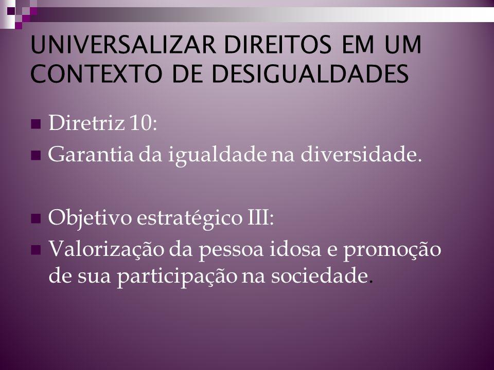 UNIVERSALIZAR DIREITOS EM UM CONTEXTO DE DESIGUALDADES Diretriz 10: Garantia da igualdade na diversidade. Objetivo estratégico III: Valorização da pes