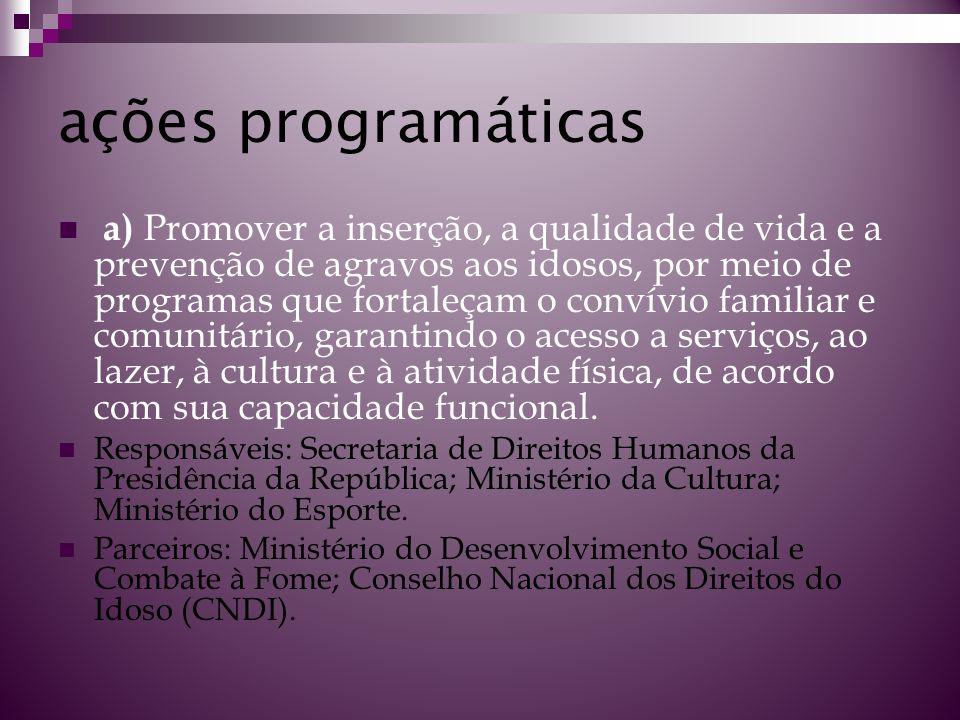 ações programáticas a) Promover a inserção, a qualidade de vida e a prevenção de agravos aos idosos, por meio de programas que fortaleçam o convívio f